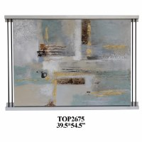 """39"""" x 54"""" Aqua and Gold Abstract Painting With Silver Bar Frame"""