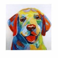 """40"""" Square Multicolored Dog Face Canvas"""
