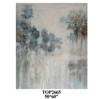 """60"""" x 50"""" Gray and Blue Tree Canvas"""