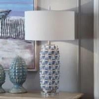 """31"""" Blue and White 3D Table Lamp"""