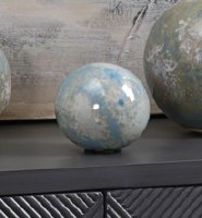 """4"""" Aqua and Blue Ceramic Orb"""