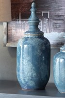 "18"" Blue Lidded Ceramic Urn"