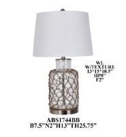 "25"" Jute Net On Clear Glass Table Lamp"