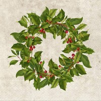 "6"" x 6"" Holly Wreath Lunch Napkin"