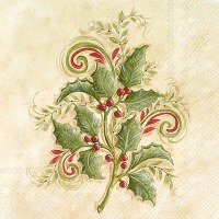 """6"""" x 6"""" Holly Sprigs Lunch Napkin"""