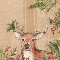 "5"" x 5"" Deer With Red Berries Beverage Napkin"