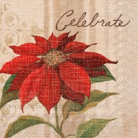 "5"" x 5"" Red Poinsettia Celebrate Beverage Napkin"