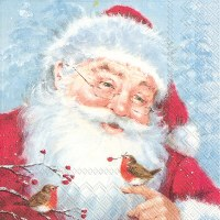 "5"" x 5"" Santa With Birds Beverage Napkins"
