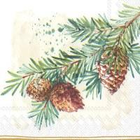 "5"" x 5"" Pine Branch With Cones Beverage Napkin"