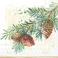 """6"""" x 6"""" Pine Branch With Cones Lunch Napkin"""