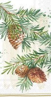 """8"""" x 4"""" Pine Branch With Cones Guest Towel"""