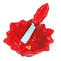 "5"" Ceramic Red Poinsettia Dip Bowl and Spread"