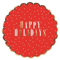 """Pack of 16, 7"""" Round Red Happy Holidays Paper Plate"""