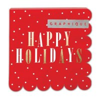 "5"" Square Red Happy Holidays Beverage Napkin"