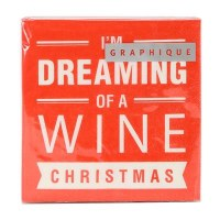 "5"" Square Wine Christmas Beverage Napkin"