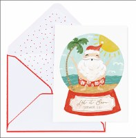 "Box of 8, 5"" x 7"" Santa Waterglobe Cards"