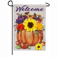 "12"" x 18"" Mini Welcome Pumpkin Flowers Garden Flag"