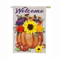 "28"" x 44"" Welcome Pumpkin Flower Garden Flag"