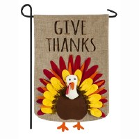 "28"" x 44"" Give Thanks Turkey Burlap Garden Flag"
