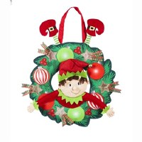 """22"""" Elf In Wreath Door Hanger"""