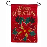 """12"""" x 18"""" Mini Merry Christmas Red Poinsettia Garden Flag"""