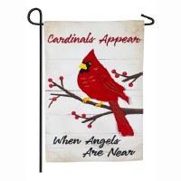 "12"" x 18"" Mini Cardinal Angel Garden Flag"