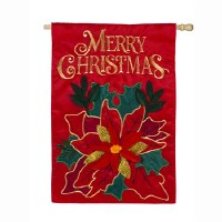 "44"" x 28"" Merry Christmas Red Poinsettia Flag"