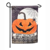 "12"" x 18"" Mini Happy Halloween Pumpkin Garden Flag"