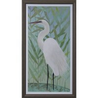 """43"""" x 23"""" White Egret On Water Gel Print Framed"""