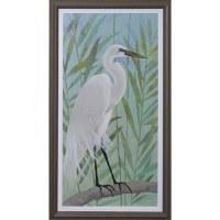 """43"""" x 23"""" White Egret On Branch Gel Print Framed"""