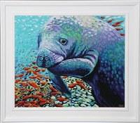 "30"" x 36"" Multicolored Manatee Gel Print Framed"