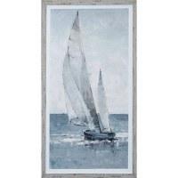"43"" x 23"" Blue and White Sailboat Going Left Gel Print Framed"