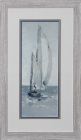 """29"""" x 17"""" Blue and White Sailboat Going Right Print Framed"""
