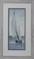 "29"" x 17"" Blue and White Sailboat Going Left Print Framed"