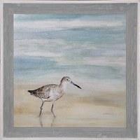 """36"""" Square Shorebird On Left Gel Print Framed"""