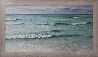 "31"" x 56"" Small Green and Blue Waves Gel Print Framed"