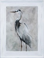 "50"" x 40"" Black and White Heron 1 Gel Print Framed"