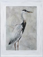 "50"" x 40"" Black and White Heron 2 Gel Print Framed"