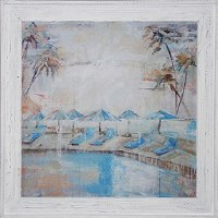 "36"" Square Poolside With Blue Chair Umbrella Gel Framed"