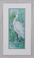 "28"" x 16"" White Egret On Aqua 1 Framed Print"