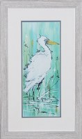 "28"" x 16"" White Egret On Aqua 2 Framed Print"