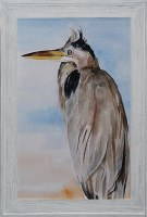"42"" x 30"" Gray Heron On Blue 1 Gel Frame"