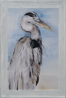 "42"" x 30"" Gray Heron On Blue 2 Gel Framed Photo"