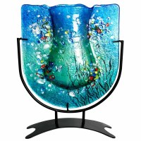 """11"""" Blue With Multicolored Flowers Vase With Stand"""