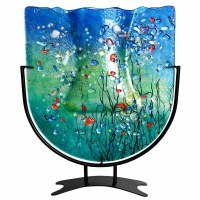 """15"""" Blue With Multicolored Flower Vase With Stand"""