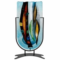 """14"""" Blue, Amber and Black Abstract Vase With Stand"""