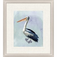 "31"" x 27"" Watercolor Beach Bird 4 Print Framed"