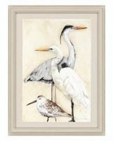 "31"" x 23"" Black Heron With Birds Print Framed"