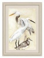"31"" x 23"" Gray Heron With Birds Print Framed"