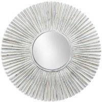 "42"" Round Antique White Finish Rays Mirror"